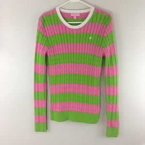 Lilly Pulitzer Pink Green Striped Sweater.